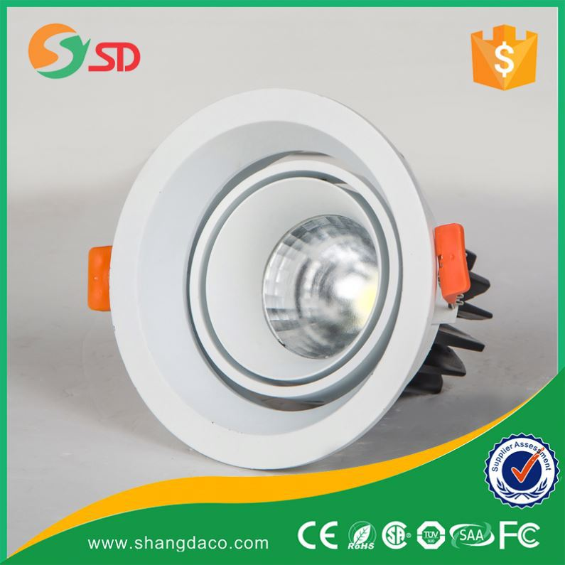 Shangda high lumen COB recessed ceiling downlight round 12W trimless led down lights