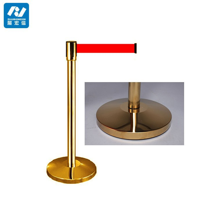stainless steel retractable barrier/gold steel pipe stanchion