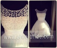WD01 New Beaded Pearls Sexy Short White Wedding Dresses 2014