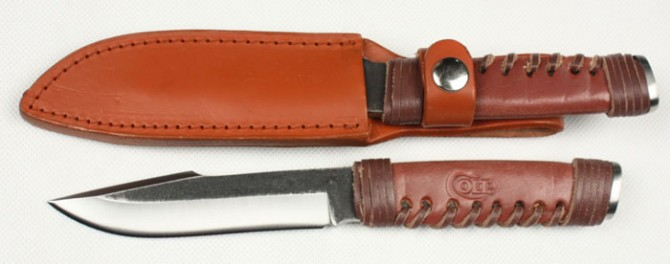 Leather Handle Red boy hunting knife camping tools hand 60HRC High carbon steel Blade fixed jungle knife 5346