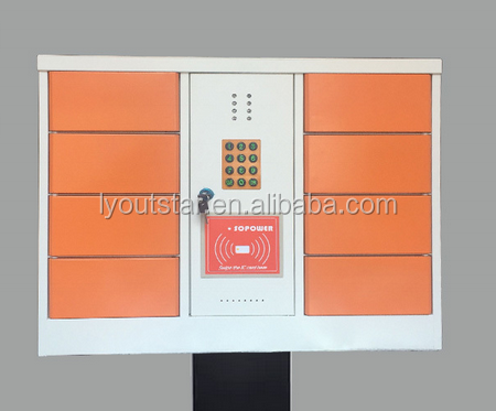 Multi 8 doors cell phone coin operated charging storage locker