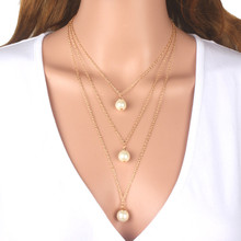Best selling Women Fashion jewelry gold chain three multi layer pearl bead necklace