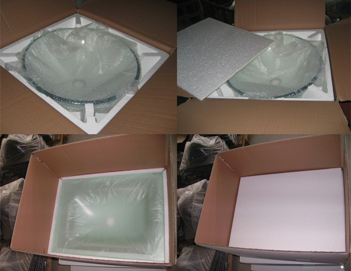 DOMO toughed glass hand basins ,double bowls