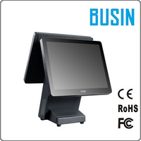 New arrival 15 inch capacitive touch cheap pos system all in one dual touch screen cashier machine