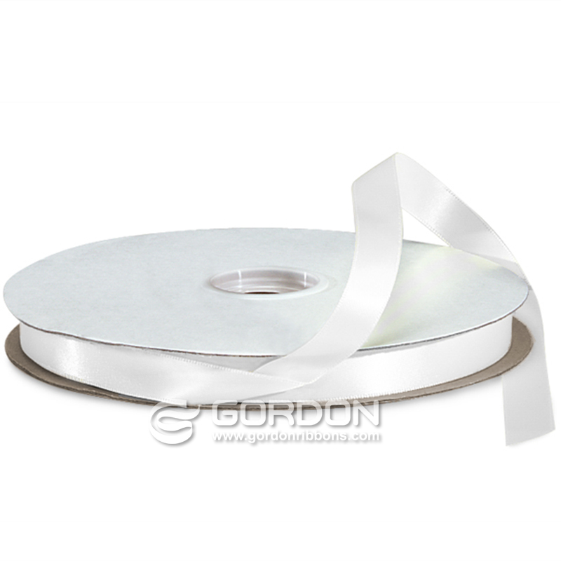 16mm White Double Faced Satin Ribbon,Polyester Satin Ribbon Decorations