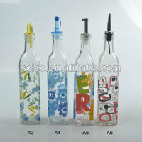 glass decal or coloured cooking oil bottle with plastic or metal lid