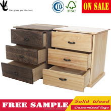 Pan Retro solid wood White Dresser Desktop box unfinished wood drawer box