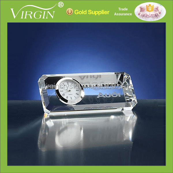 Optical Crystal Ad Business Engraved Clock Paperweight Promotional GIfts
