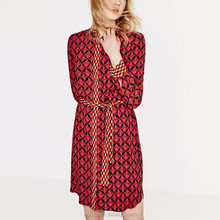 Name of dress material peraonality print joint shirt neck belt loose long sleeve medium dress