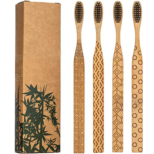 2 3 4 year old environmental Certified engraved <strong>bamboo</strong> carbon toothbrush with black charcoal bristles and travel case zero waste