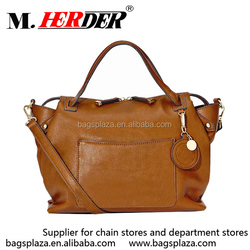M7010 OEM brown plain bag leather woman quilted tote bags wholesale