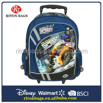 2016 Convenient design school bag with trolley
