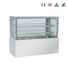 guangzhou manufacturer natural marble double layer toughened glass right angle bakery display cooler