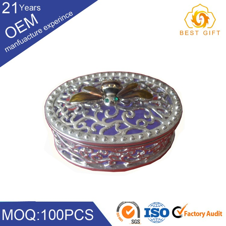 Classical carved designs zinc alloy metal engraved jewelry box