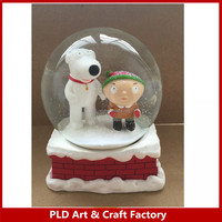 resin princess castle rose themed polyresin angel snow globe