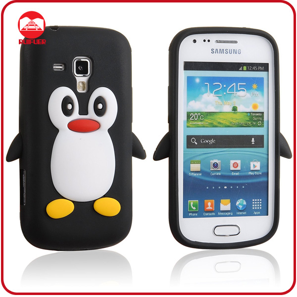 Hot Selling Penguin 3D Animal Silicone Rubber Cover for Samsung Galaxy S Duos S7562 Cute Case