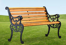 Double Seat Park Bench Wood Bench Iron Furniture Backrest Bench