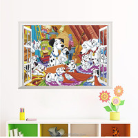 3d Fake Window Cartoon Spot Dog Wall Sticker Removable Art Home Children's Room Decor Mural Art Decal Sticker dog Wall Decor