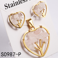 The Tree Of Life Sweet Heart ShapeJewelry Set Newest Lady Design Pink Glass Stone Fashionable Earrings And Pendant Set