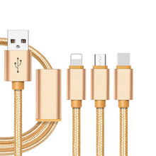 Hot selling 3 in 1 3ft 8pin+Type C+ Micro USB Nylon Braided Charging Cable