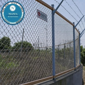 galvanized security chain link fence top barbed wire for boundary line