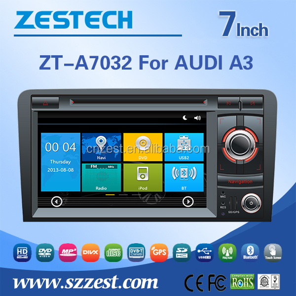 ZESTECH car dvd For AUDI A3 with Map, Vmcd, Game, support Ipod, Gps, BT, DVD, USB/SD, AUX, SWC, A/V, In/Out, RDS, Rearview Camer