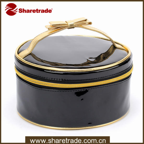 Wholesale Black Cylinder Unique Leather Cosmetic Makeup Bag For Teen