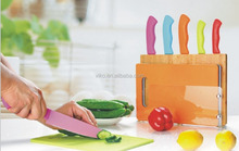 5PCS Colorful Knife Set with 4PCS Plastic Cutting Boards and Holders