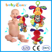 Baby crib hanging toy with music box soft plush puppy baby toys from China