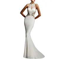 High neck Open Back Fine Flowers Wedding 2015 white evening gown