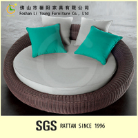 Modern Comfortable Garden Furniture Patio Rattan Daybed with Colorful Cushion Cheap Round Garden Sofa Bed Design Wicker Sofa Bed