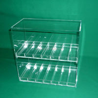 2 Layers 14 Bottles Clear Acrylic E Juice Display Case , 2 Layers Slot Size Clear Acrylic E liquid E Cigarette Display Case