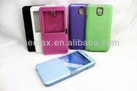 Electroplating Horizontal Flip Leather Case with Call Display ID & Holder for Samsung Galaxy Note III / N9000