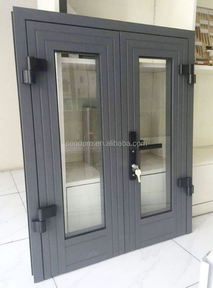 Exterior double glazed side hung aluminum french door for Double hung exterior french doors
