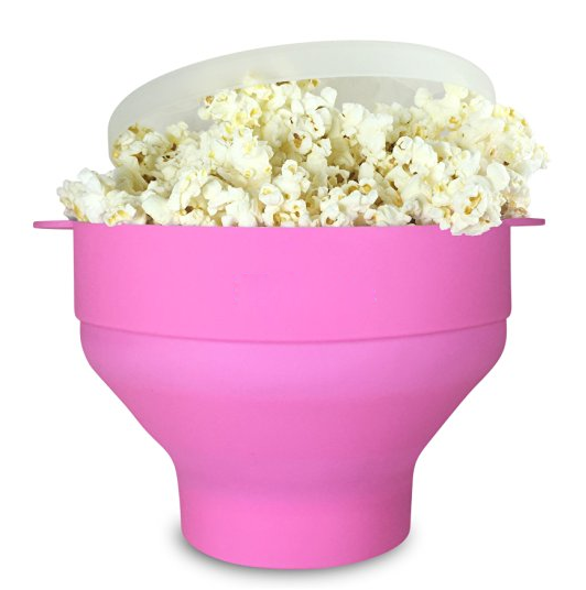 Christmas gift eco-friendly food grade silicone soft microwave popcorn holder with lid