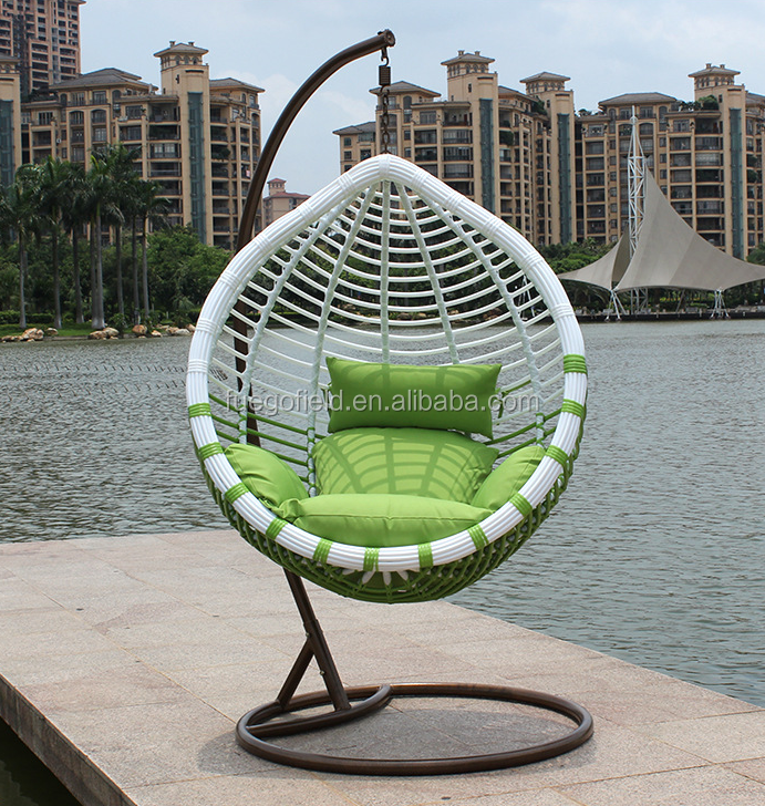 Modern outdoor rattan furniture wicker swing chair/hanging egg chair/garden hanging chair cushion for sales