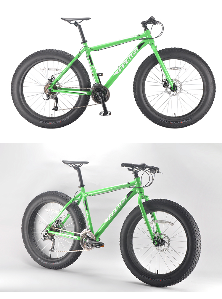 OEM ODM fashion green aluminum alloy frame 27 speeds outdoor sports fatbike big tire snow bicycle 26'' beach cruiser fat bike