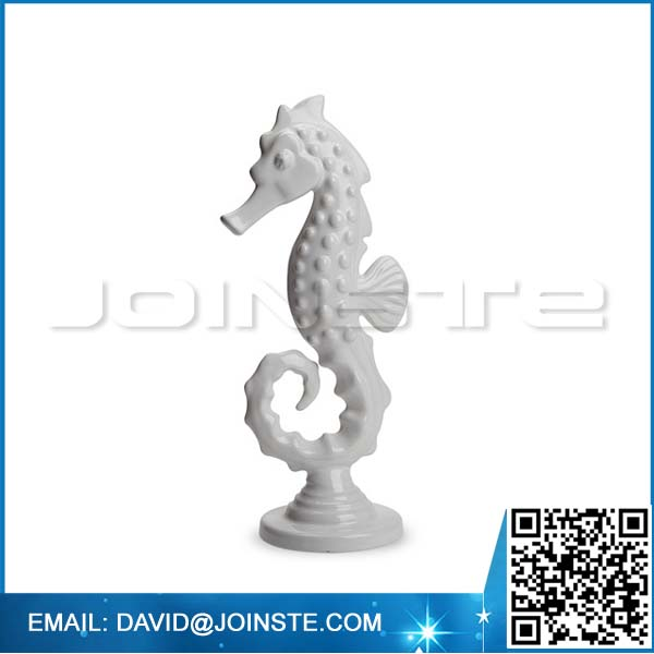 "8"" Ceramic Small White Seahorse Statue Sea Horse Figurine"