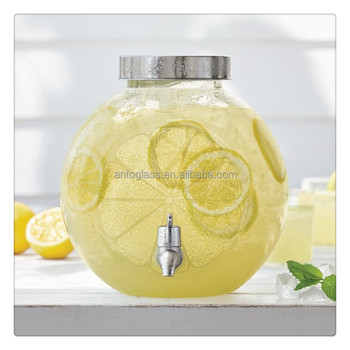 1.3gal Lemon / Citrus Shape Glass Drink Dispenser