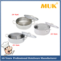MUK hot sale hotel restaurant various style stainless steel short separated sauce pot