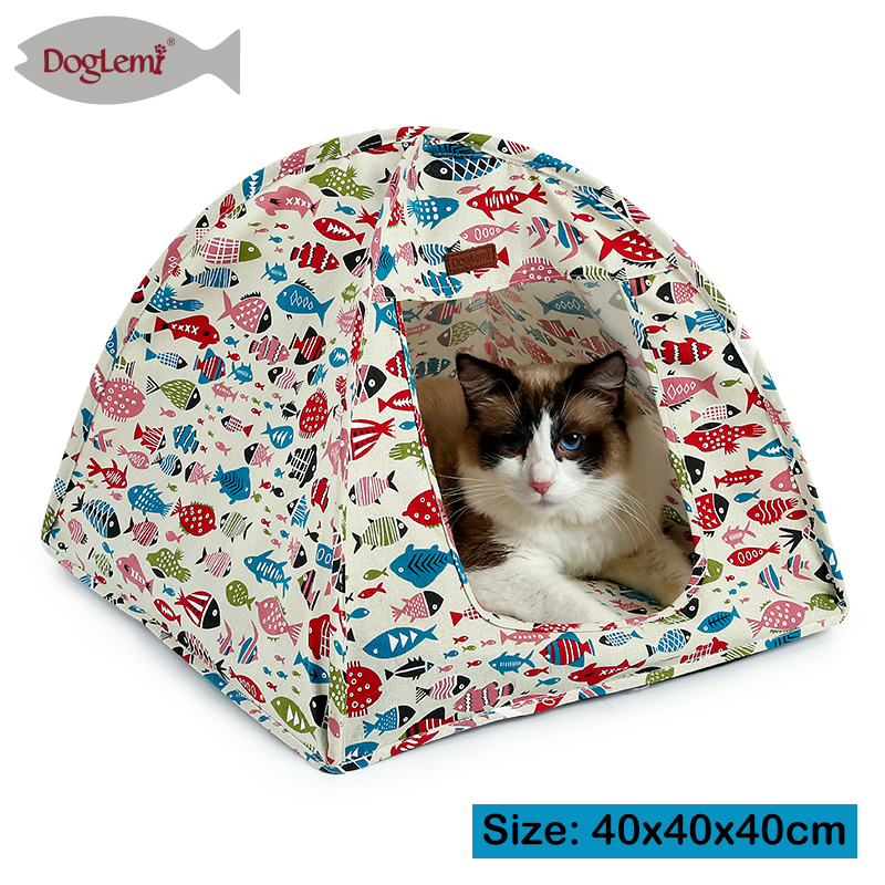 2017 Doglemi Best Selling Cotton Canvas Portable Pet Cat Tent Bed