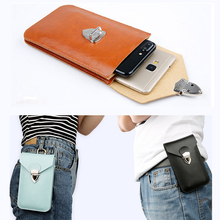 Hot sale 5.5 inch Universal Outdoor Casual waist bag Two mobile phones leather case For iphone 6 7 8 plus