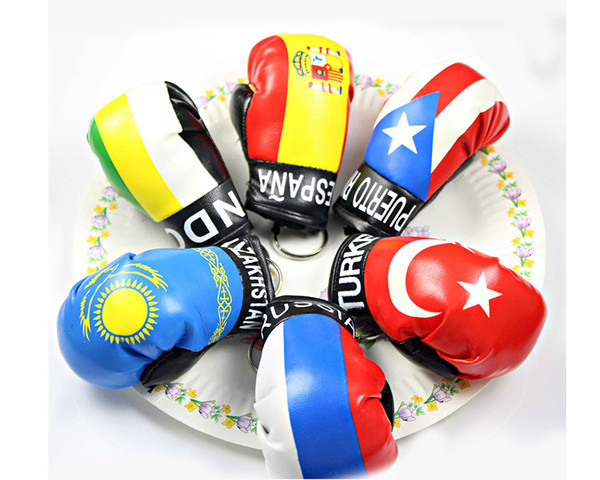 RANDOM Colors Wholesale Printing Puerto Rico Flags Souvenirs Leather Custom Mini Boxing Glove Keychain
