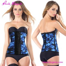 High Quality Blue Camouflage Printyed Clip and Zip Waist Cincher Corsets