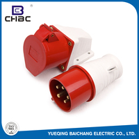CHBC Durable 5 Pin 3P+N+E Poles Red Colour Industrial Plug & Socket Connectors