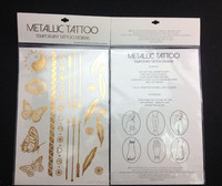 Metallic fashion shiny body art temporary tattoo sticker