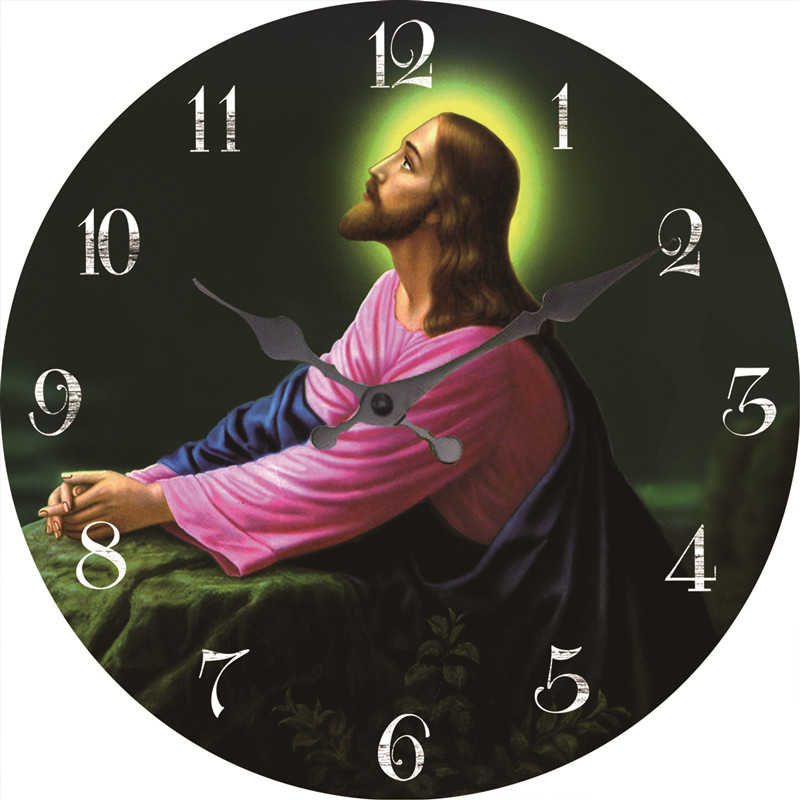 12 inch mdf material jesus wall clock