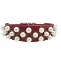 Genuine Leather Puppy Collars Classy Pearl Bling Dog Collar Leather