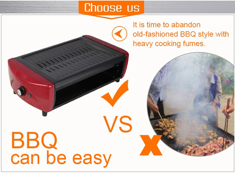 rectangle barbecue grill /non-stick electric barbecue grill