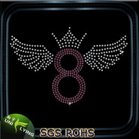 Rhinestone Transfer Digit 8 With Wings And Crown